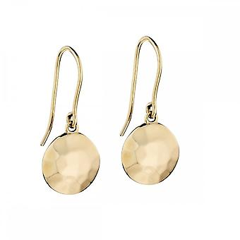 Elements Gold Yellow Gold Hammer Finish Irregular Disc Earrings GE2142