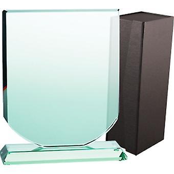 Glazen trofee met koffer