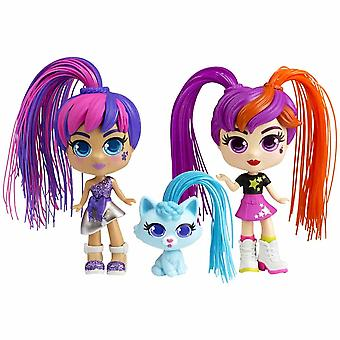 Silverlit curli girls 2 dolls and pet twinset with hair accessories for ages 3+
