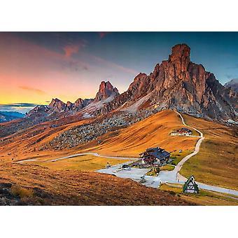Tapetti Mural Alpine Pass Dolomites