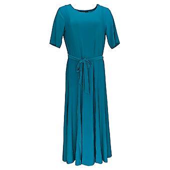 Nina Leonard Dress Wrinkle-Resistant Midi With Removable Belt Blue 643-206
