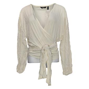Du Jour Women's Top Drop Shoulder Wrap Front Knit Top Ivory A343621