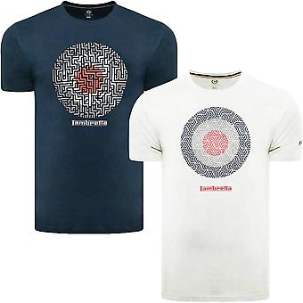 Lambretta Mens Geo Target Casual Retro Graphic Print Cotton T-Shirt Top Tee