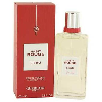 Habit Rouge L'eau By Guerlain Eau De Toilette Spray 3.3 Oz (men) V728-526540