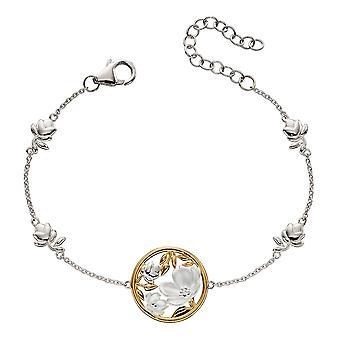 Elemente Silber Womens 925 Sterling Silber Kirschblüte Station Armband mit echten Gelbgold Plating 16-20cm