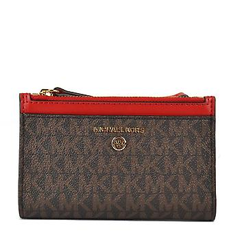 MICHAEL Michael Kors Small Logo Double-zip Card Case Brown/bright Red