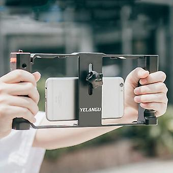 YELANGU PC02A Vlogging Live Broadcast Plastic Cage Video Rig Filmmaking Stabilizer Bracket for iPhone, Galaxy, Huawei, Xiaomi, HTC, LG, Google, and Ot