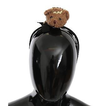 Brown Black Teddy Bear Gold Crown Diadem Headband