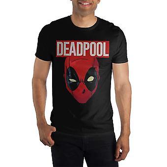 Marvel comics deadpool movie costume face men's black t-shirt