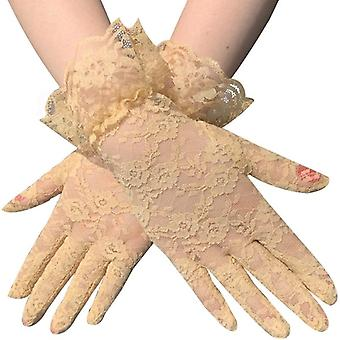 Lady Lace Party Sexy Dress Gloves, Summer Full Finger Sunscreen Gloves