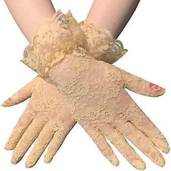 Lady Lace Party Sexy Dress Handsker, Sommer Fuld Finger Solcreme Handsker