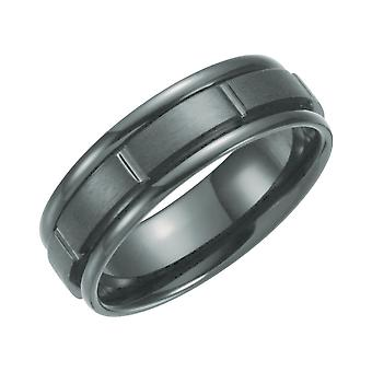 Black Titanium 7mm Polished Grooved Band Ring Jewely Gifts for Women - Ring Size: 8 to 13