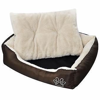 سرير الكلب مع المفروشات الناعمة حجم L البني