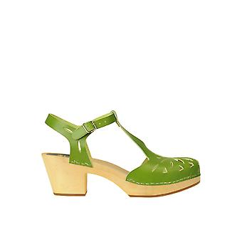 Swedish Hasbeens Ezgl631003 Women's Green Leather Sandals