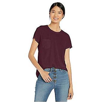 Merkki - Goodthreads Women's Washed Jersey Cotton Pocket Crewneck T-paita, Bordeaux, X-Small
