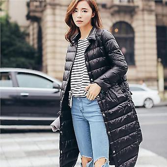 Woman Winter Padded Warm Coat, Ultra Light, Duck Down Jacket, Long Overcoat