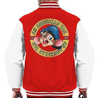 Ein amerikanischer Schwanz 1986 Fievel Mousekewitz Charakter Kopf Männer's Varsity Jacke