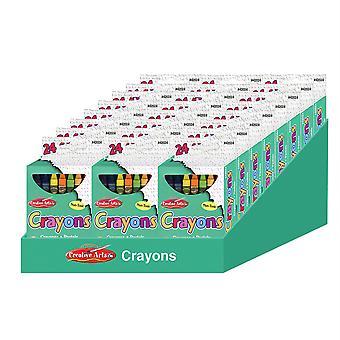 Crayones de Artes Creativas - Colores Surtidos - 24/Bx, 24 Cajas Con Bandeja de Estante