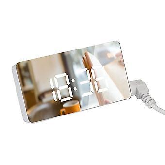 Hora da mesa de mesa do despertador de espelho digital led com calendário de termômetro usb