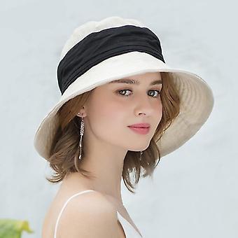 Summer Cotton Linen Foldable Beach Hat, Patchwork Bucket Cap