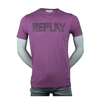 Replay Jeans Replay Organic Cotton Logo T-shirt Lilac