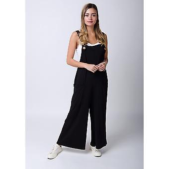 Amber loose fit jersey dungarees - zwart