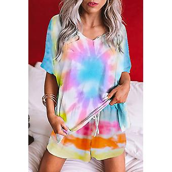 Multi-color Twist Tie Dye Short Pajamas Set