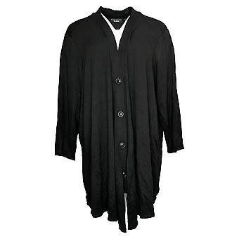 Susan Graver Week-end Femmes & s Sweater Reg Cardigan Noir A397254
