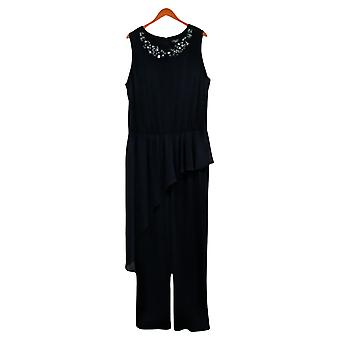 Susan Graver Plus Tute Liquid Knit con Chiffon Blu A387793