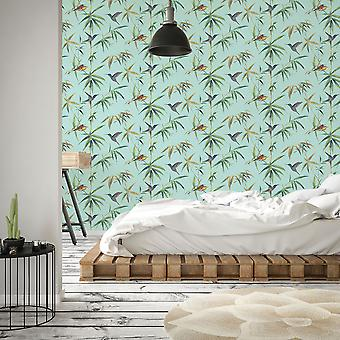 Global Fusion Humming Birds Wallpaper Turquoise G56411