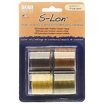 Super-Lon (S-Lon) Cord, Size 18, Four 77 Yard Spools, Wheatfield Mix