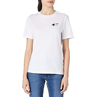 PIECES PCLIWY SS Tee BC T-Shirt, Bright White. Print: caff Break, L Donna