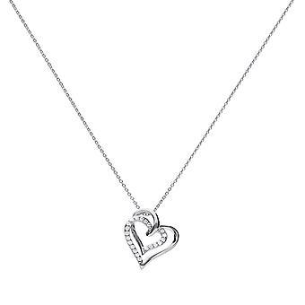 Diamonfire Womens 925 Sterling Silver Rhodium, Palladium & Platinum Plated Clear Cubic Zirconia Sammanlänkade Två hjärtan Halsband av längd 40cm - 45cm