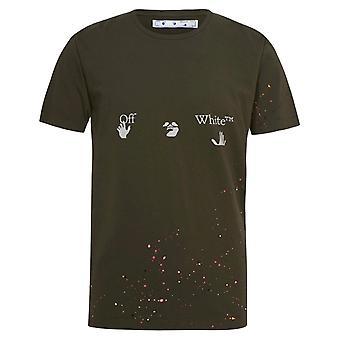 Off White Paint Spetter Groen T-Shirt