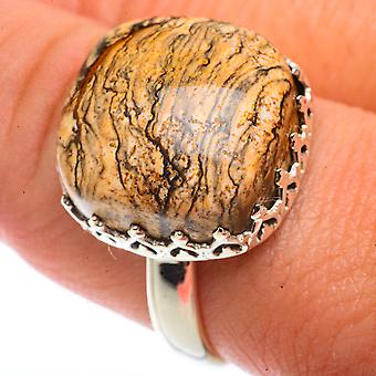 Picture Jasper Ring Size 10 (925 Sterling Silver)  - Handmade Boho Vintage Jewelry RING66497
