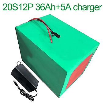 Battery With Charger 5a 36ah 72v Li-ion 18650 Rechargeable Electric Two Three-wheeled Motorcycle Bike Ebike Accept Customization 20s12p 246 * 200 * 14