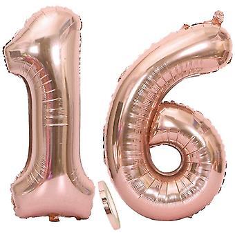 "2 Luftballons Zahl 16 Rosegold, Riesen Nummer 16 Luftballons Roségold 40"" Folienballon Helium"