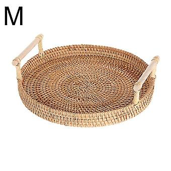 Handwoven Round Tray With Handle Fruit Basket Food Storage High Wall Severing Platters(brown)