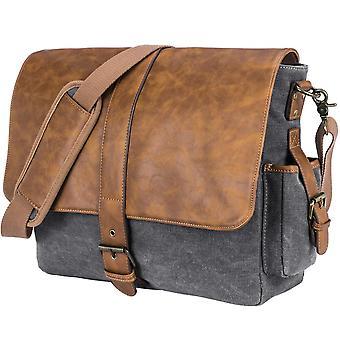 Leather Messenger Bag Vintage Briefcase Canvas Shoulder Bag Up To 15.6 Inch Laptop / Computer / Tablet,grey