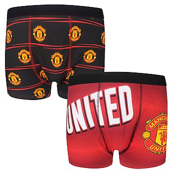 Manchester United Mens Boxer Shorts Crest 1 Pair OFFICIAL Football Gift