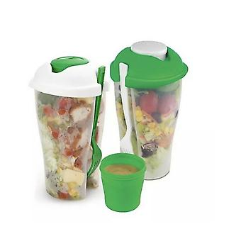 Kabalo On The Move Salad Bottle Lunch Box Bowl Food Storage Containers 2 x Set Jar Fork