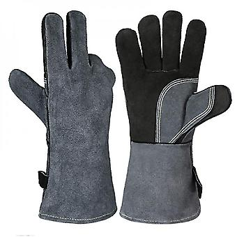 Anti Scalding Heat Resistant Leather Welding Gloves Grill Bbq Glove