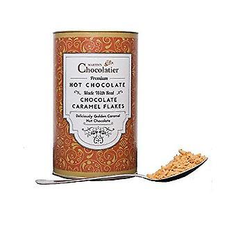 Martin's Chocolatier Hot Chocolate Drinking Chocolate Made from Real Belgian Chocolate Flakes - Caramel - 300g Tin
