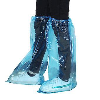 30 Paare Kunststoff verlängern Schuhe Cover Einweg wasserdichte Schuhschützer elastische Band Verdickung Schuhabdeckungen für Outdoor Regnertag (blau)