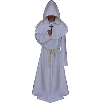 Män Monk Hooded Robe Cloak Cape Friar Medeltida Präst Cosplay Kostym