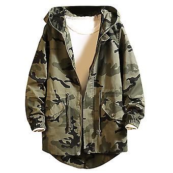 Yunyun Men's Camouflage Hooded Zipper Casual Outwear Warm Trench Dust Coat