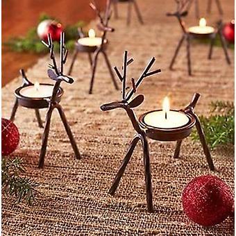 Set Of 4 Reindeer Tea Light Holders