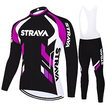 Strava Cycling Jerseys Summer Breathable Bike Jersey Long Sleeves - Pink