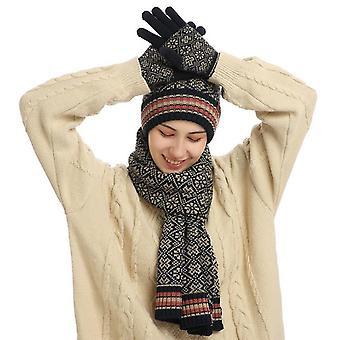 Hat Gloves Scarf Set For Women Soft Warm Knitted Beanie Set