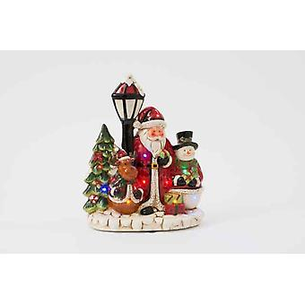 Ceramic Christmas Decoration With Father Santa Snowman Reindeer Xmas tree LED Gift Item